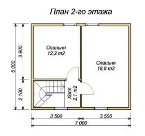 План 2 этажа дома из бруса 7 х 9