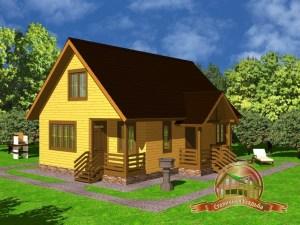 Проект деревянного дома из бруса 7.5х11 с сауной, туалетом, комнатой отдыха