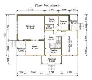 План 1 этажа проекта деревянного дома из бруса 7.5х11 с сауной, туалетом, комнатой отдыха