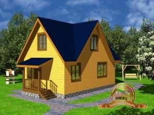 Оригинальный дом из бруса 6х9 м с крыльцом