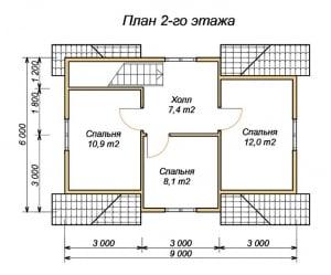План второго этажа для оригинального дома из бруса 6 на 9
