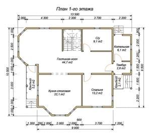 План 1 этажа для дома из бруса 13х8 со вторым светом