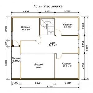 План 2 этажа для дома из бруса 13х8 со вторым светом