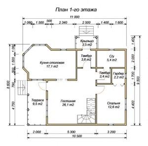План 1 этажа дома из бруса 9 на 11 с эркером
