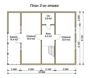 План 2 этажа дома из бруса 9 на 11 с эркером