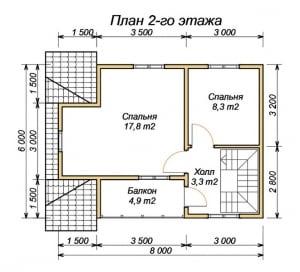 План 2 этажа проекта дома из бруса 6х8 с террасой