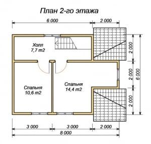 План 2 этажа дома из бруса 6х8