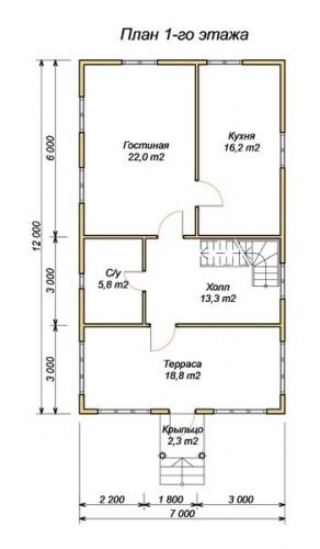 Планировка 1 этажа проекта дома из бруса 7х12 с крыльцом