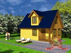 Дом из бруса 6х9 с крыльцом и верандой