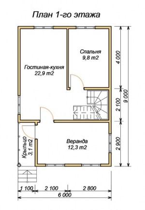 План 1 этажа проекта брусового дома 6х9