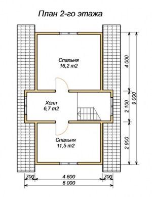 План 2 этажа проекта брусового дома 6х9