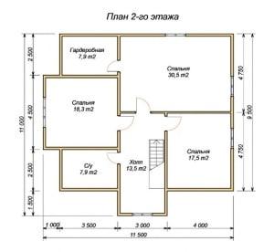 План 2 этажа проекта дома 11х11.5