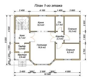 План 1 этажа проекта дома из бруса 8 на 10.5
