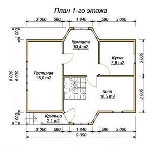 План 1 этажа проекта дома из бруса 8х9