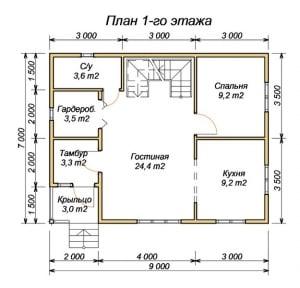 План 1 этажа проекта дома из бруса 7 на 9 с четырьмя спальнями