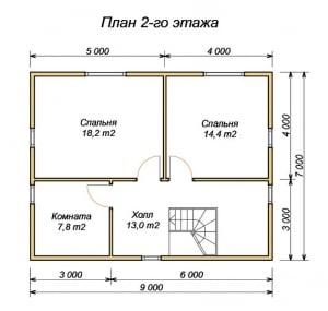 План 2 этажа проекта дома из бруса 7х9 с террасой