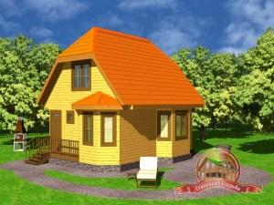 Проект дома из бруса 6х8 с эркером
