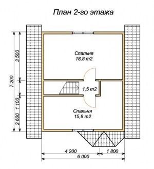 План 2 этажа проекта дома из бруса 6 на 8 с крыльцом