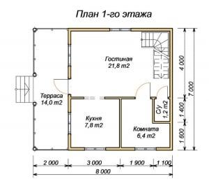 План 1 этажа дома из бруса 7х8