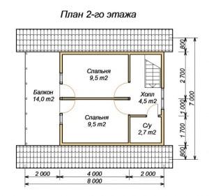 План 2 этажа дома из бруса 7х8