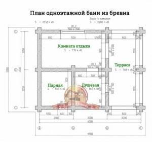 Планировка 1 этажа бани из ОЦБ 5х6.5