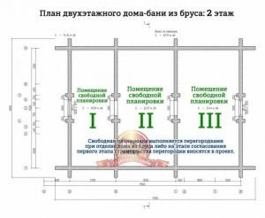 Планировка 2 этажа двухэтажного дома 7х11.5 с сауной