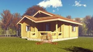 Элитный проект одноэтажного дома из оцилиндрованного бревна 8х10