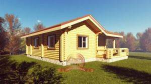 Проект бревенчатого дома с террасой