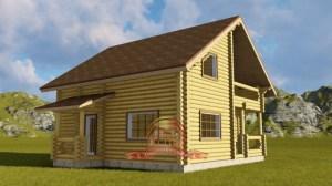 Проект дома из ОЦБ с террасой и балконом