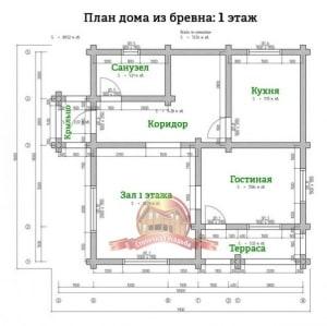 Планировка 1 этажа проекта дома 9х10 из оцилиндрованного бревна