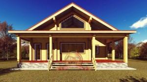 Элитный дом из бруса, вид на открытую террасу