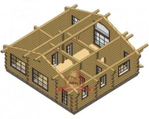 Дом из оцилиндрованного бревна 11х12, проект