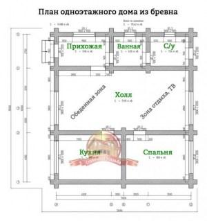 Планировка 1 этажа дома из ОЦБ 11х12