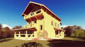 Трехэтажный сруб эксклюзивного дома 12х15 из оцилиндрованного бревна