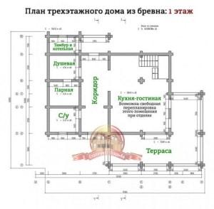 Планировка 1 этажа эксклюзивного дома из ОЦБ 12х15