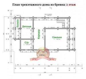 Планировка 2 этажа эксклюзивного дома из ОЦБ 12х15