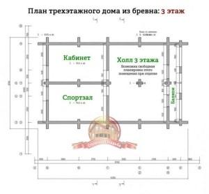 Планировка 3 этажа эксклюзивного дома из ОЦБ 12х15
