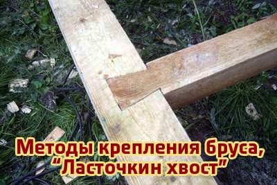 Методы крепления бруса, крепление «ласточкин хвост»