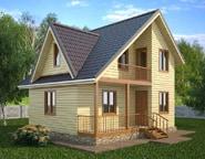 Проект дома 7х8 из бруса с отличной планировкой, 2 этажа, НБ-09