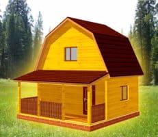 ТБС-7. Проект дома из бруса 6х6 с террасой