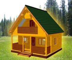 ТБС-9. Дом из бруса 6х6 с террасой и балконом