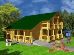 Большой дом из оцилиндрованного бревна 11х11 с навесом (гаражом), СД-14