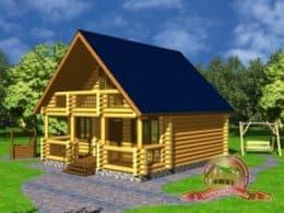 Дом из оцилиндрованного бревна 7.5х8.5 с террасой и вторым светом, СД-4