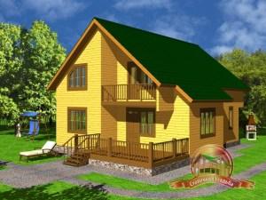 Дом из бруса 10х11 с 4 спальнями и сауной