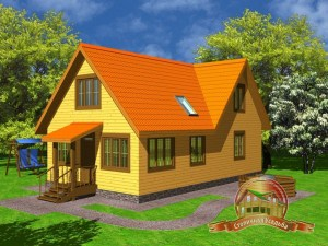 Дом из бруса 7х12 с крыльцом, ДБ-19