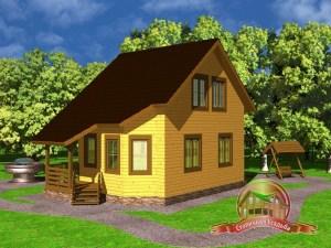 Дом из бруса 6х8 с двускатной крышей, ДБ-29