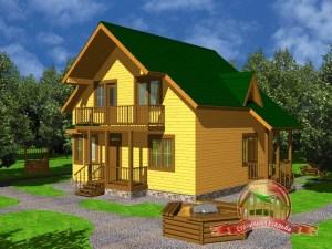 Дом из бруса 8х9 с крыльцом, проект ДБ-30