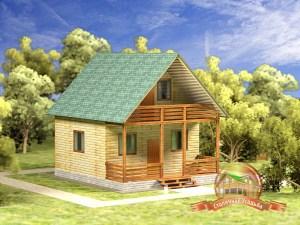Дом из бруса 7х8 метров с двускатной крышей