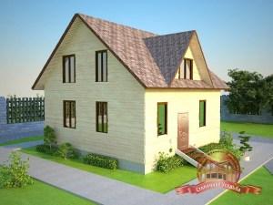 Дом из бруса 9х9, двускатная крыша с кукушкой