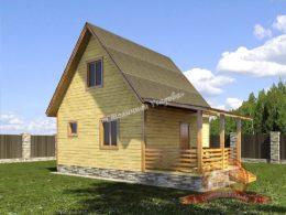 Летний дом из профилированного бруса 6х6 с террасой, НБ-25